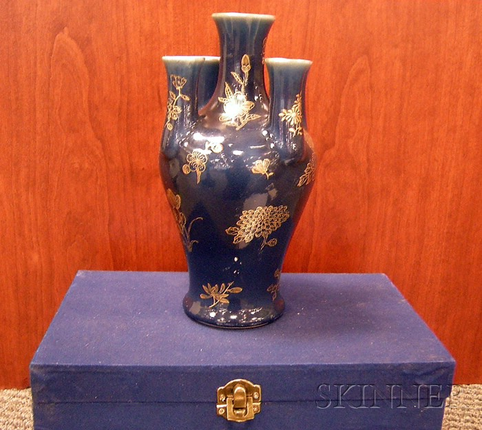 Powder Blue and Gilt Decorated Vase