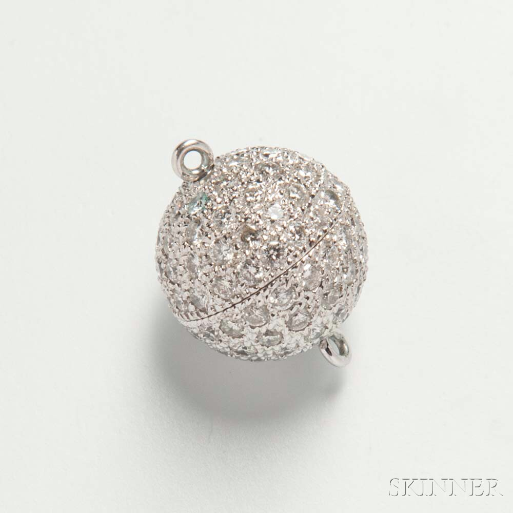 18kt White Gold and Diamond Boule Clasp