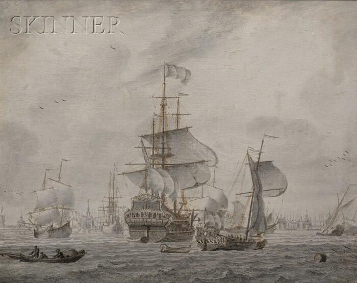 Cornelis Bouwmeester (Dutch, 1652-1733)      Lot of Two Marine Paintings: Vessels in Port in Calm Seas