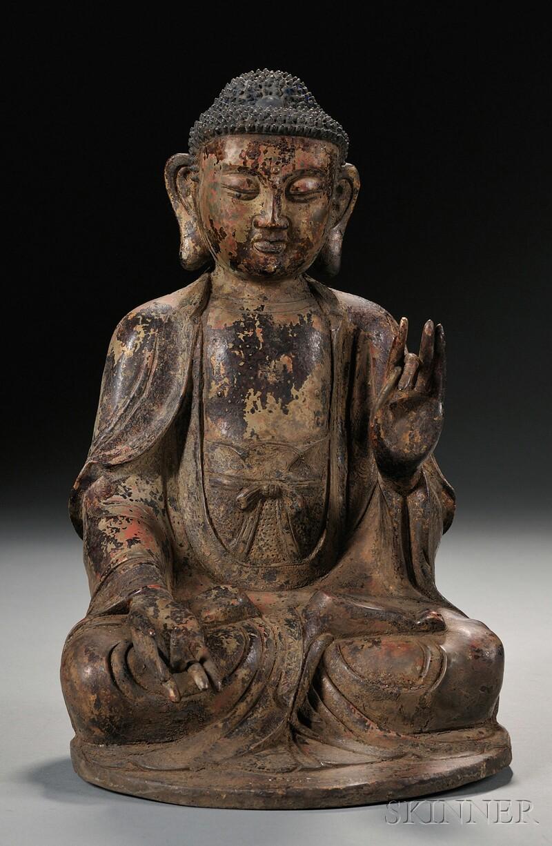 Polychrome Bronze Buddha