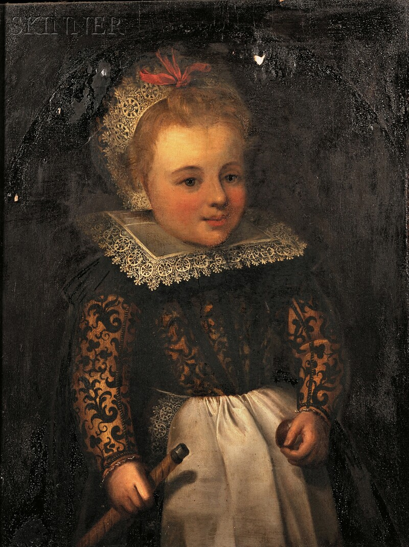Attributed to Simon de Vos (Flemish, 1603-1676)      Portrait of a Young Girl