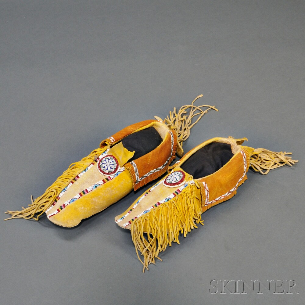 Pair of Kiowa Beaded Hide Man's Moccasins