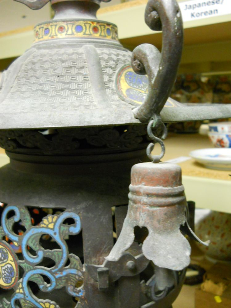 Champleve Temple Lantern and Pair of Bronze Censers and Covers