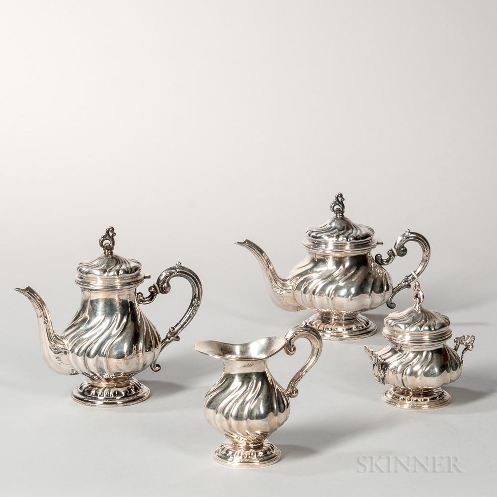 Four-piece Italian .800 Silver Tea and Coffee Service