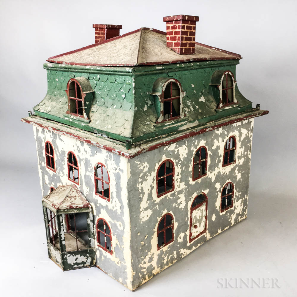Painted Tin Model of a House