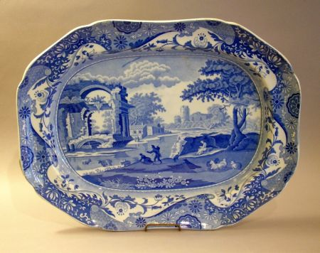 Spode Blue and White Transfer Decorated Scenic Staffordshire Platter