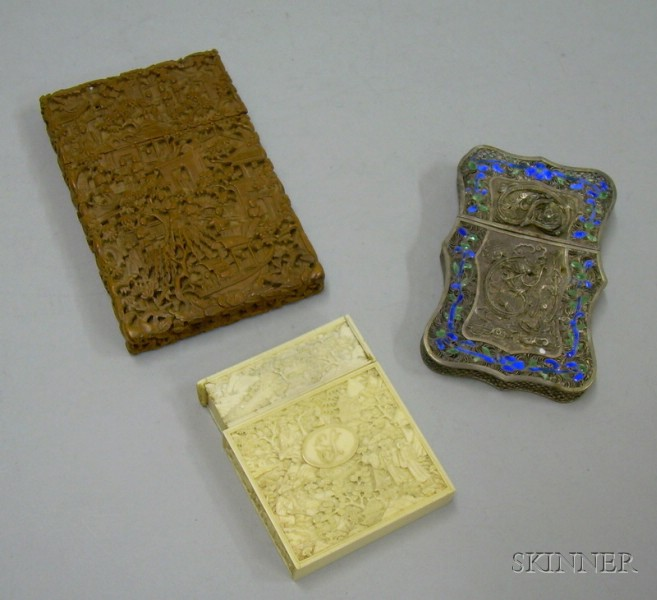 Three Late 19th/20th Century Chinese Export Card Cases