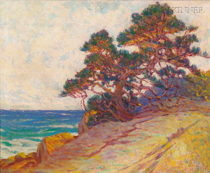 William Baxter Closson (American, 1848-1926)      Windblown Pine/A California Coastal View
