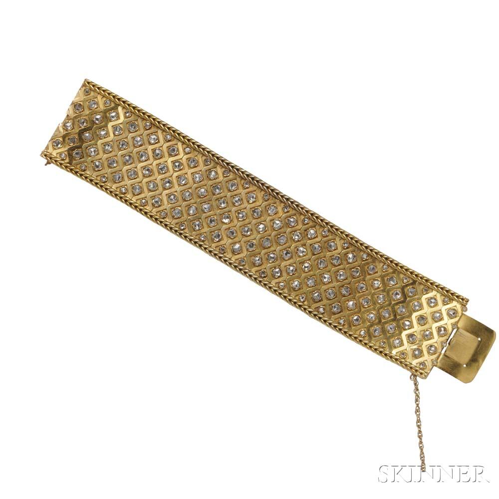 Antique 18kt Gold and Diamond Bracelet
