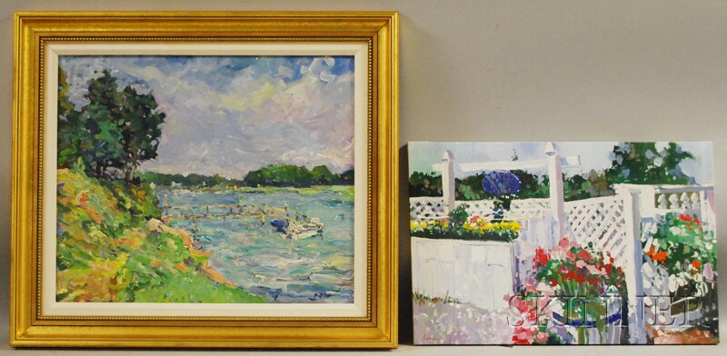 Two Works:      William St. George (American, 20th/21st Century),   A Waterway on Cape Cod