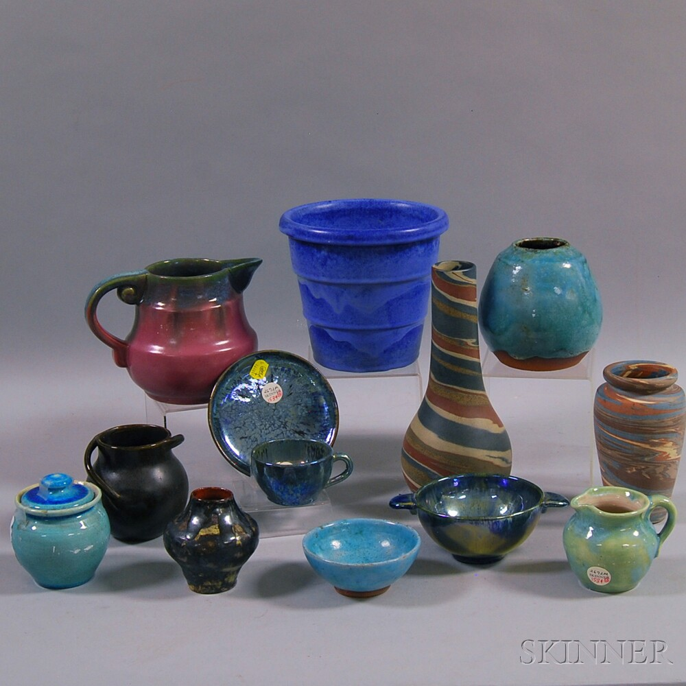 Two Niloak Missionware Vases, Two Fulper Vases and Nine Other Pottery Items