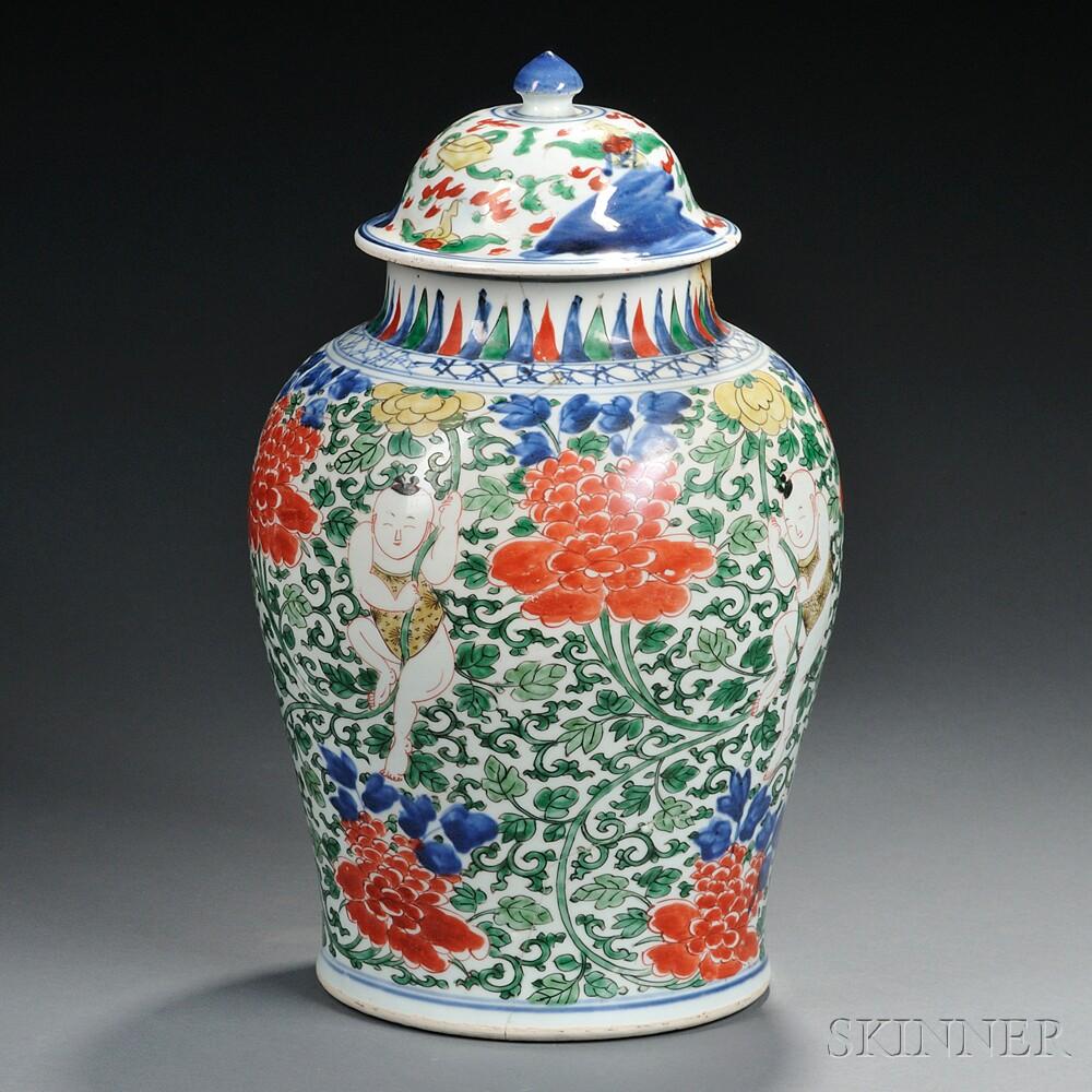 Doucai Enameled Covered Jar