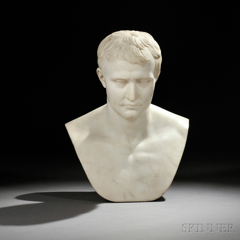 After Antoine-Denis Chaudet (French, 1763-1810) White Marble Bust of...