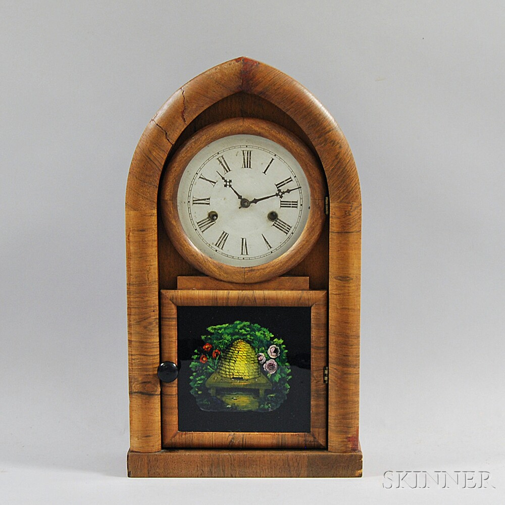 Ansonia Clock Co. Walnut Veneer Beehive Clock