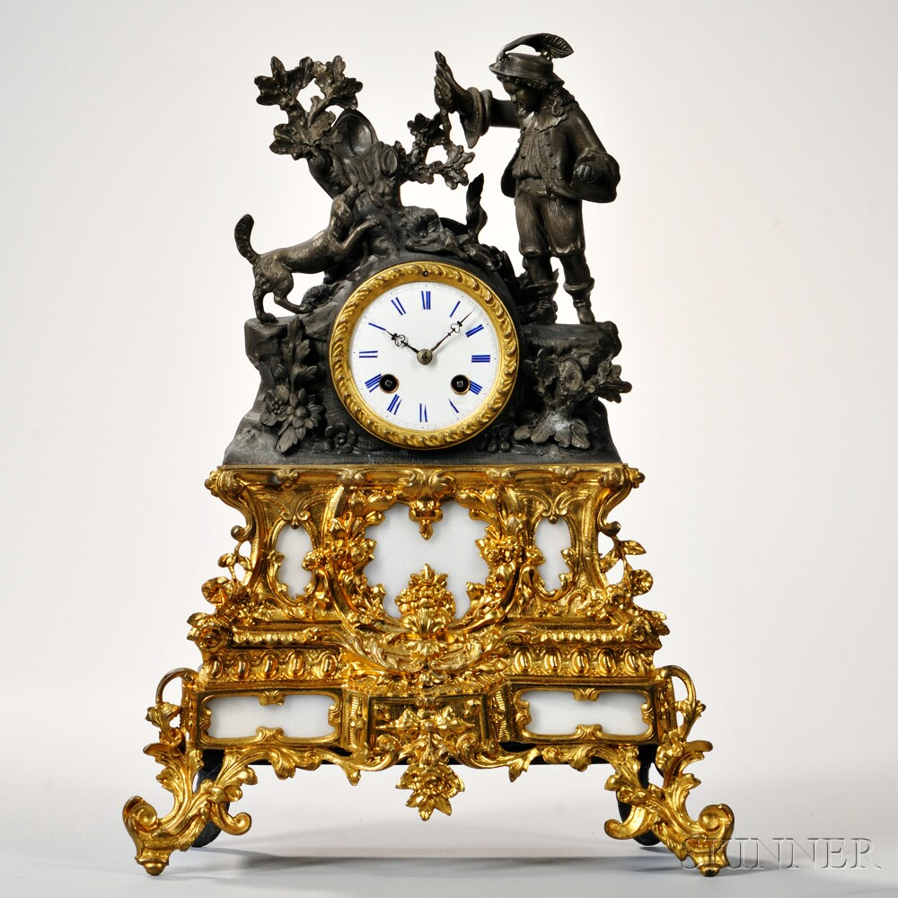 Patinated Brass and Gilt-metal Figural Mantel Clock