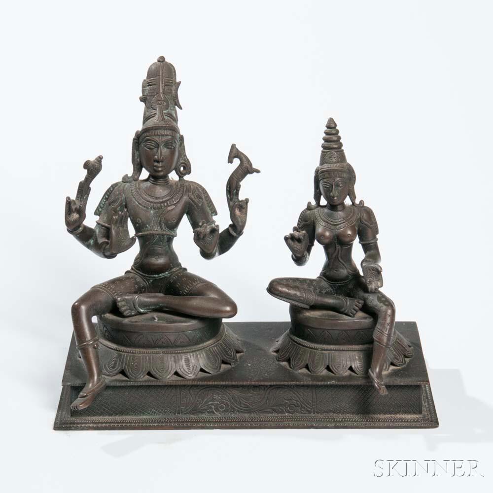 Bronze Figures of Shiva with Uma