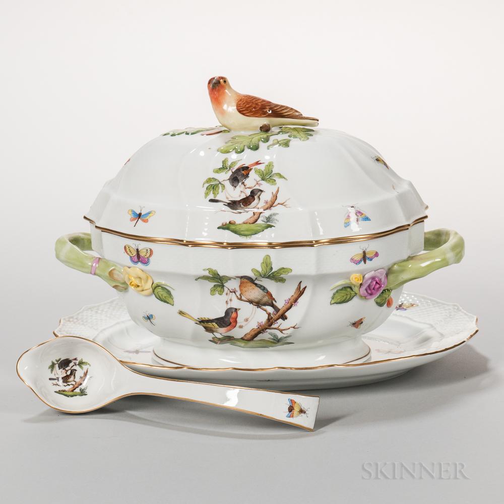 Herend Porcelain Rothschild Bird Pattern Tureen, Stand, and Platter