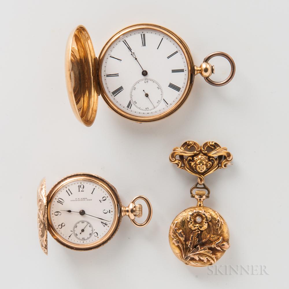 Three Swiss Gold Watches