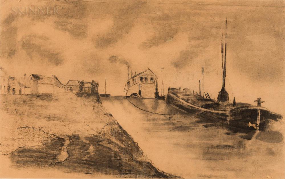 Augustus Edwin John (Welsh, 1878-1961)      Canal Scene