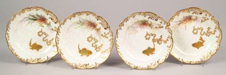 Set of Eight Victorian J.C. & Sons Hand-painted Fish Decorated Porcelain Plates