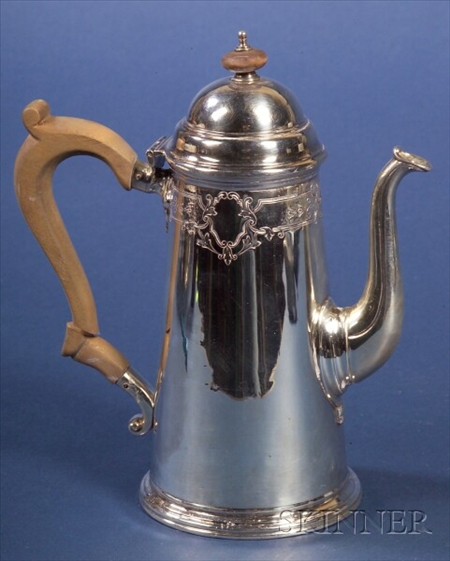 George V Queen Anne-style Silver Coffee Pot