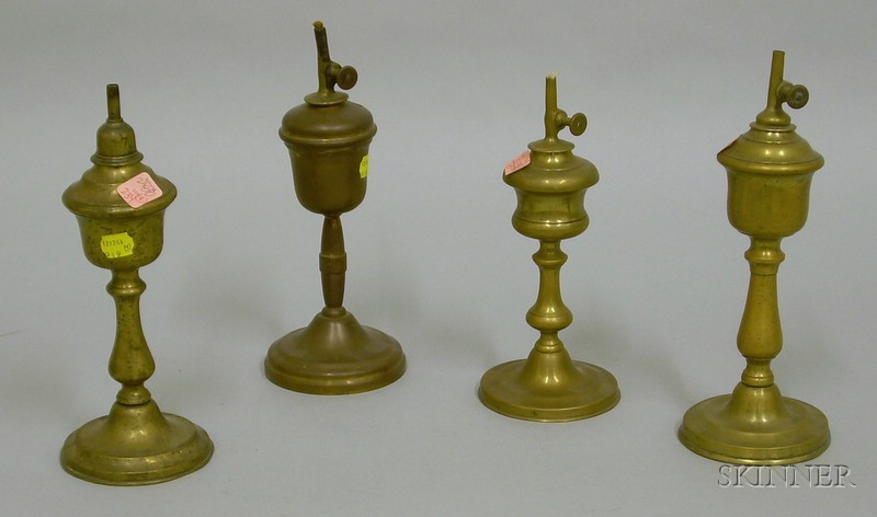 Four Brass Table Lamps