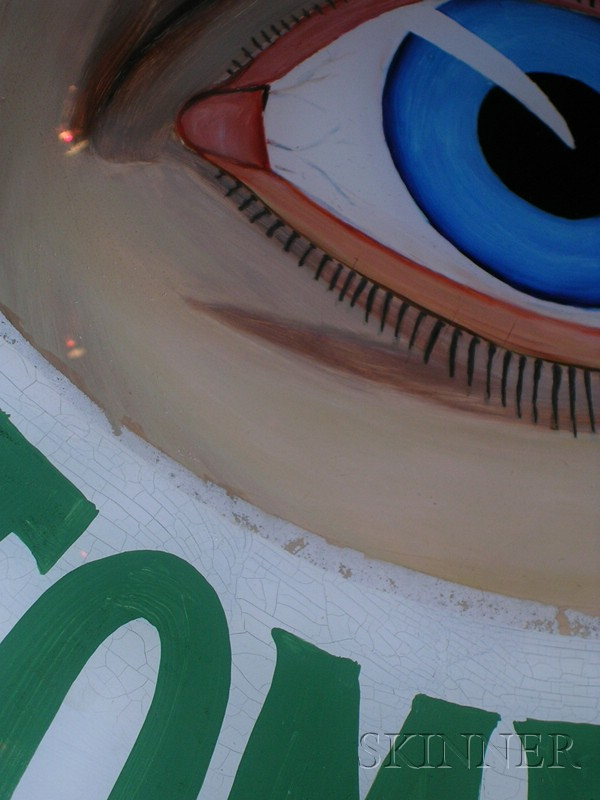 American Reverse Painted Glass Optometrist's Trade Sign