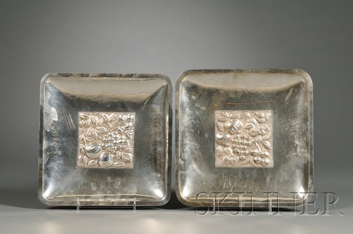 Two Decorative Mexican Silver Trays