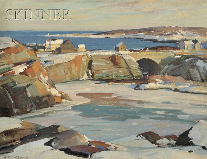 Aldro Thompson Hibbard (American, 1886-1972)      Fishing Shacks on the Coast in Winter