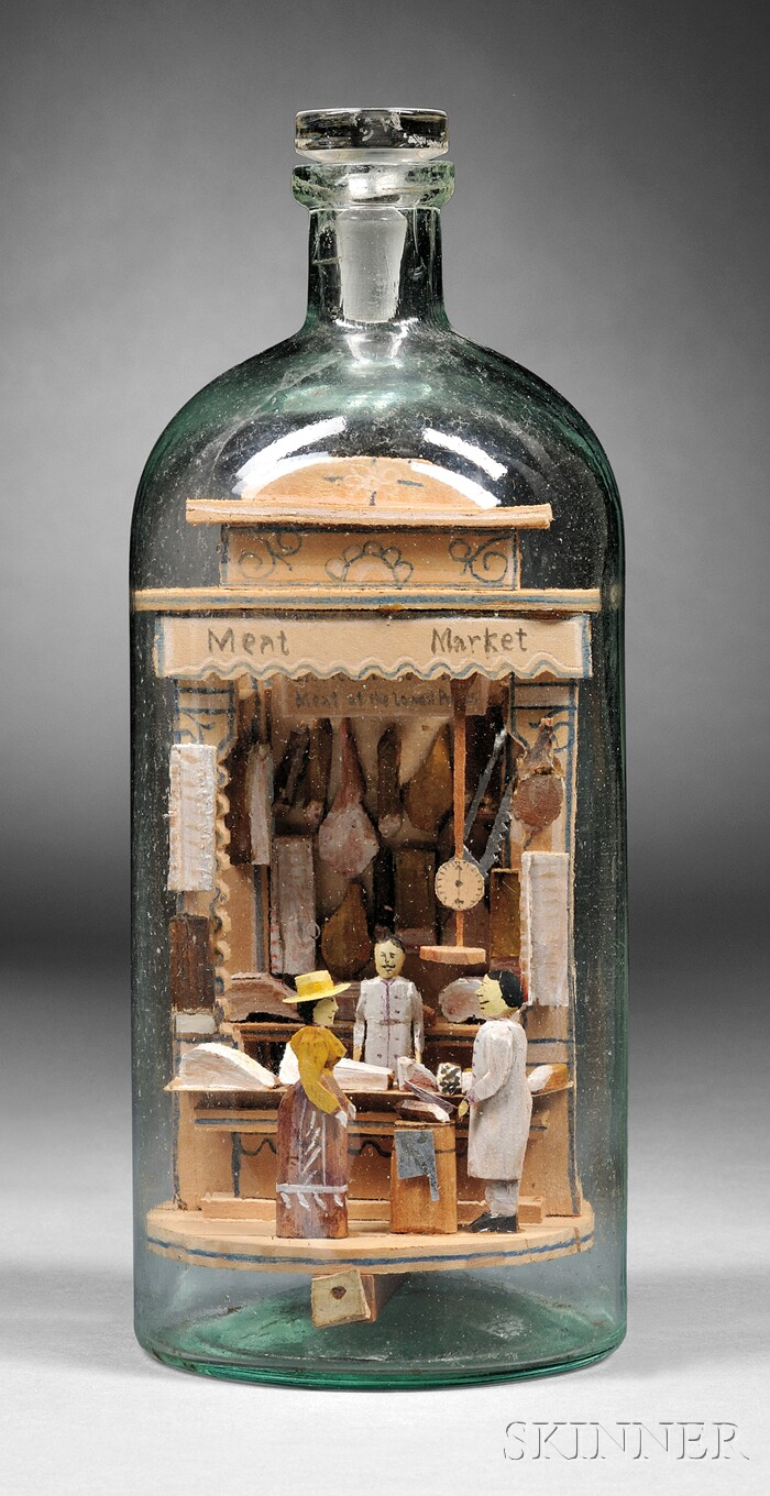 """Carl Worner Diorama Whimsy Bottle of a """"Meat Market,"""""""