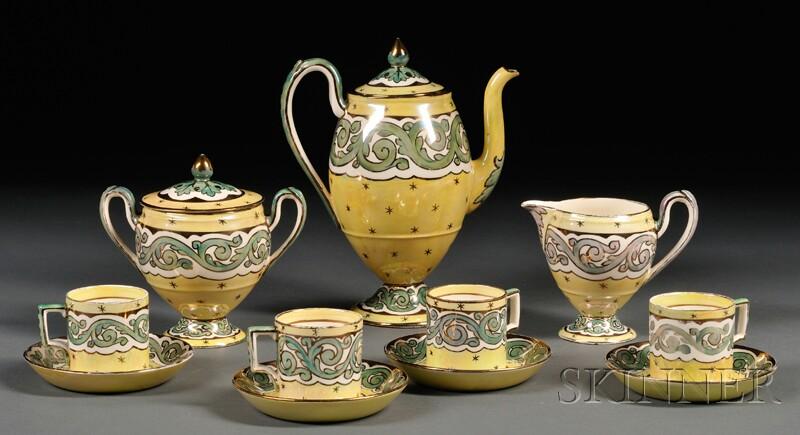 Seven-piece Wedgwood Stella Pattern Queen's Ware Coffee Set