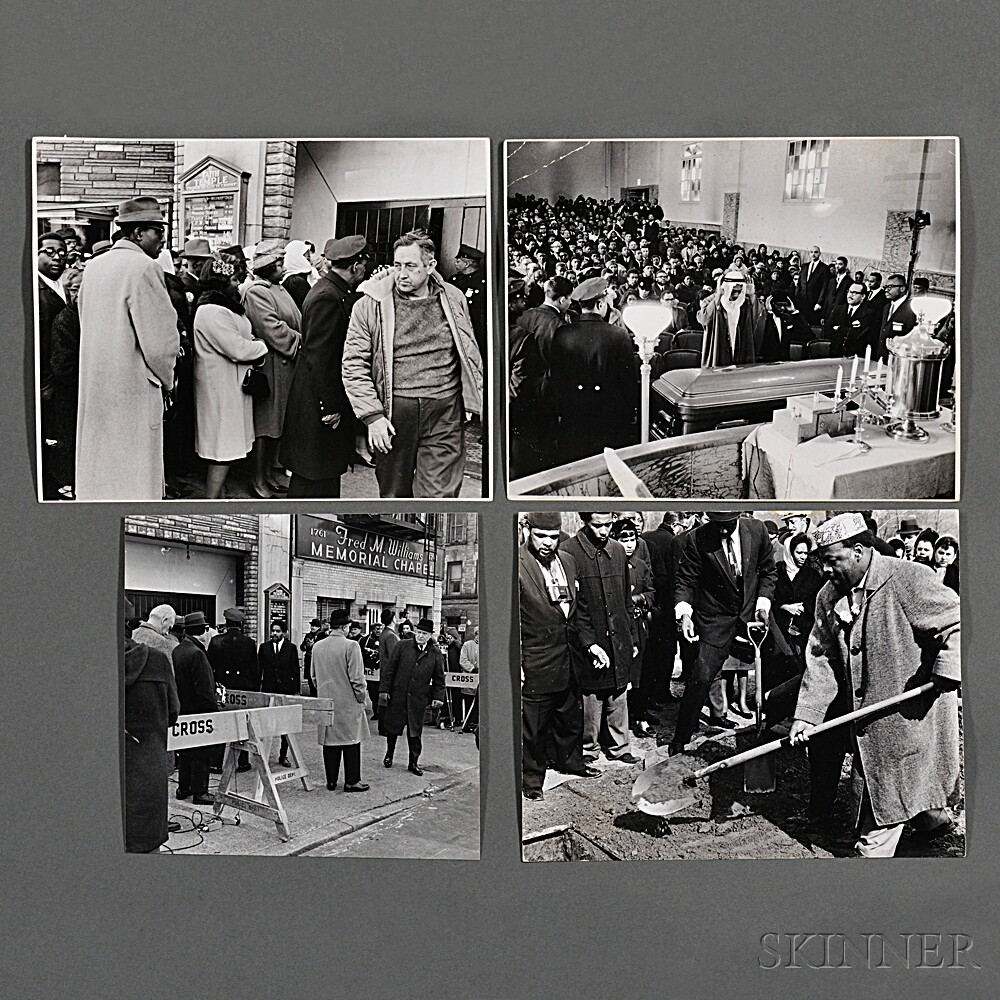 Malcolm X (1925-1965) Eleven Photographs Taken by Robert Haggins (1922-2006) Including Images of His Funeral.