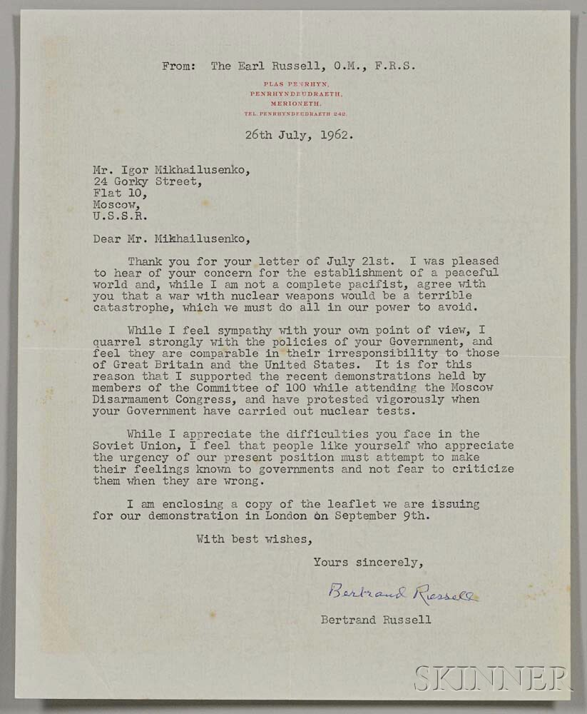 Russell, Bertrand (1872-1970) Four Typed and Signed Notes and Letters, July-September 1962.