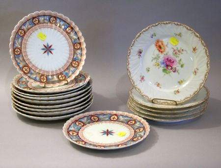 Five Dresden Hand-painted Floral Decorated Plates and Ten Carlsbad Transfer Decorated Plates