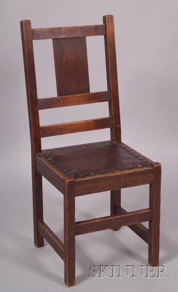 Arts & Crafts Oak Side Chair.