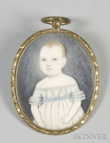 Portrait Miniature of a Young Child Wearing a White Dress with a Blue Sash