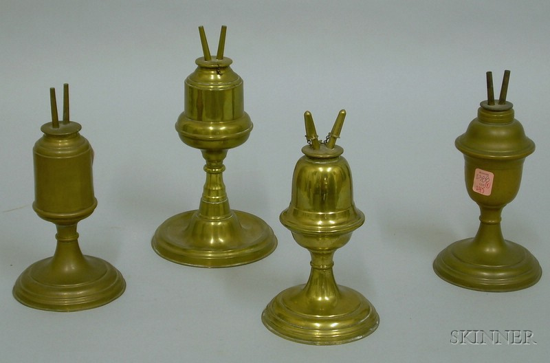 Four Brass Fluid Lamps