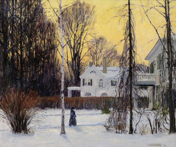 John Nichols Haapanen (American, 1891-1968)      Stroll in Winter's Twilight
