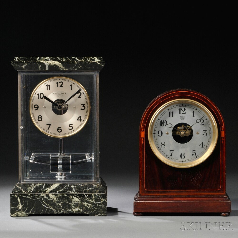 Wood Round-top and Chrome Glass and Marble Bulle Clocks