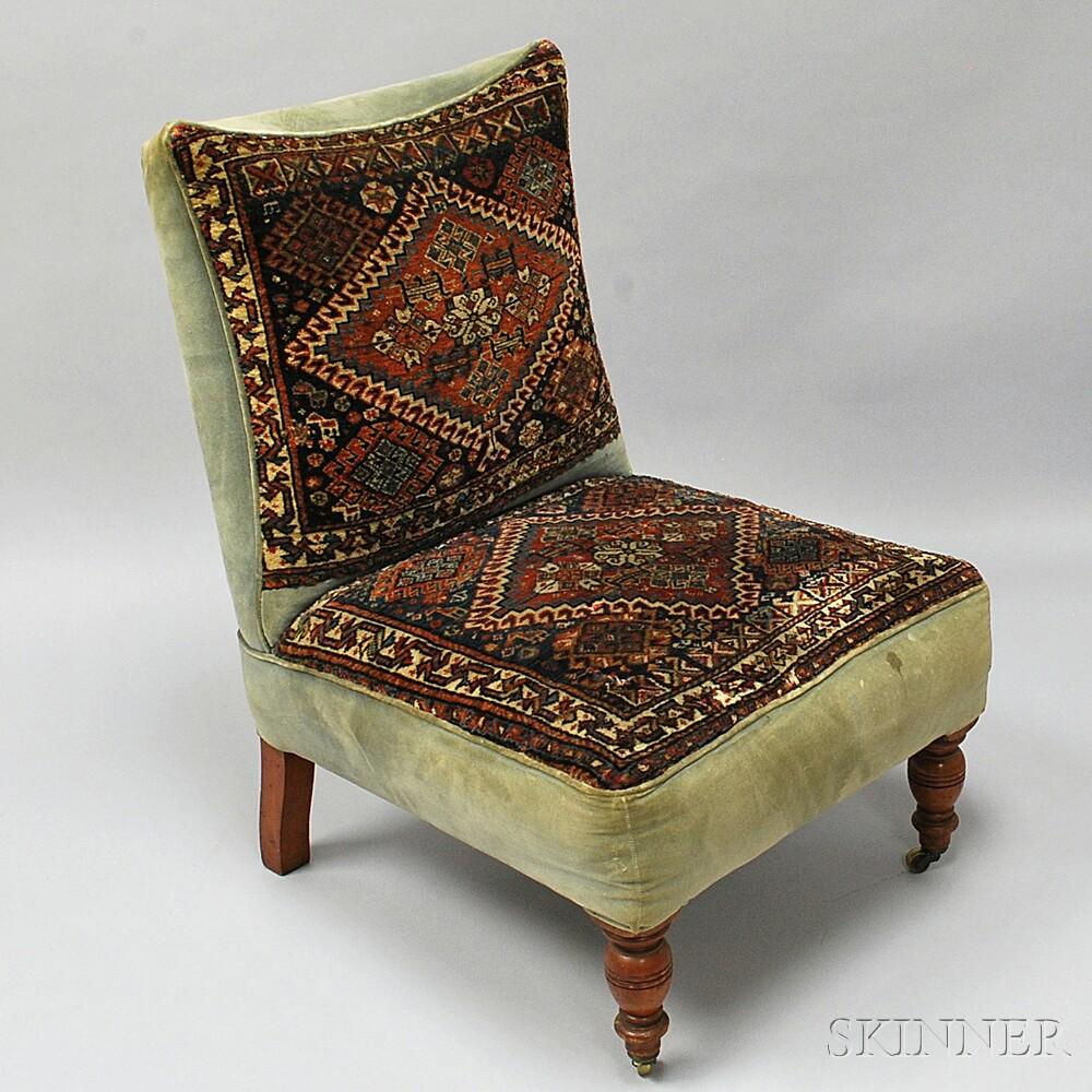 Regency-style Upholstered Slipper Chair