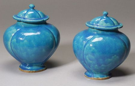 Two covered jars