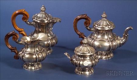 German .800 Silver Four Piece Tea and Coffee Service