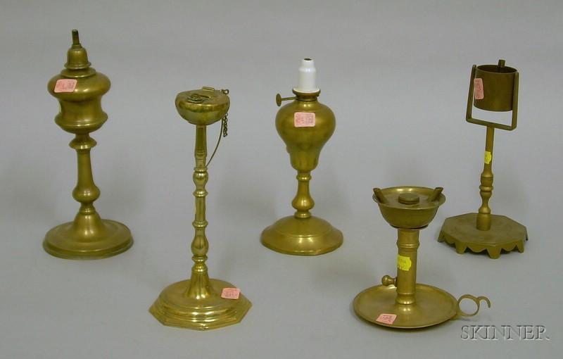 Five Brass Lamps