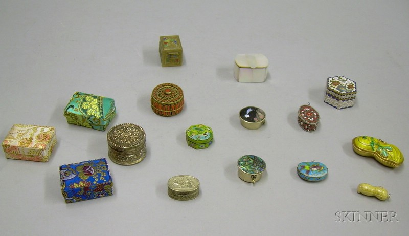 Fifteen Assorted Enamel and Other Small Boxes.