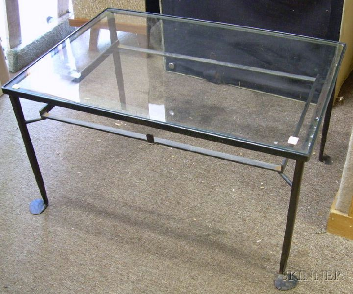 Glass-top Wrought Iron Garden Low Table.