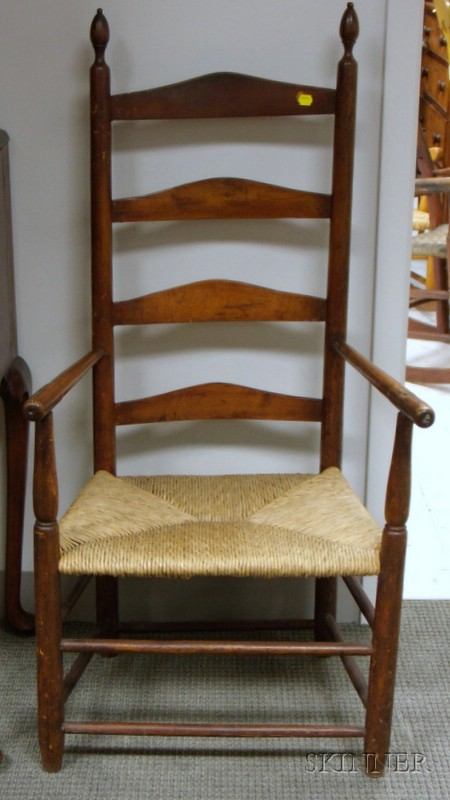 Country Chippendale Carved Cherry Side Chair and a Maple Slat-back Armchair