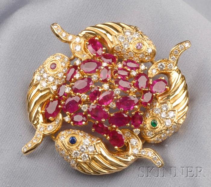 18kt Gold Gem-set Brooch, Aldo Cipullo, Cartier