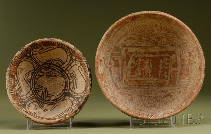 Two Pre-Columbian Polychrome Pottery Bowls