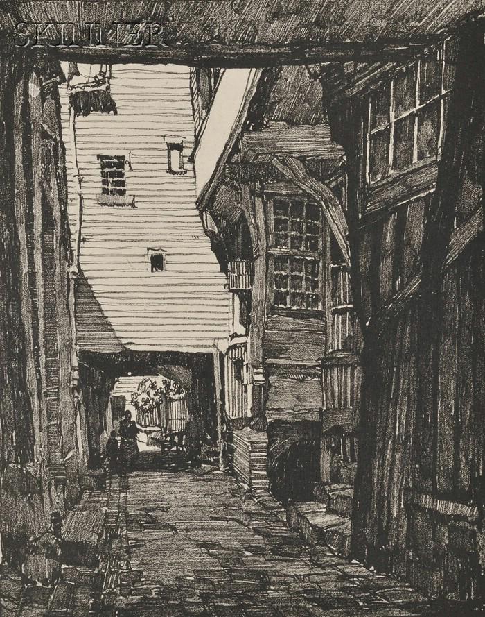 Samuel V. Chamberlain (American, 1895-1975)      An Alley in Pont-Audemer