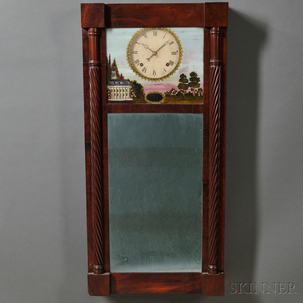 Joseph Ives Mahogany Looking Glass Wall Clock Sale